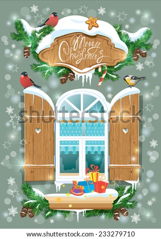Christmas and New Year card with wooden frosty window, fir tree branches, birds and snowflakes. Raster version - stock photo