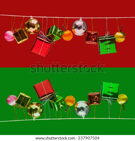 Christmas and new year decorated texture and background - stock photo