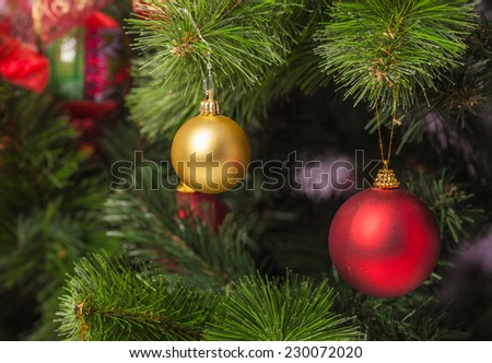 Christmas and New Year decoration with shiny glare - stock photo