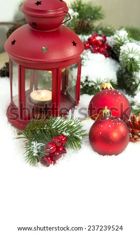 Christmas and New Year Decorations isolated on a light background. lantern light and tinsel  - stock photo