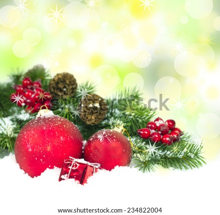Christmas and New Year Decorations on a bright background.  - stock photo