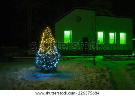 Christmas and  new year fir tree  night with illumination  lights and rural house - stock photo
