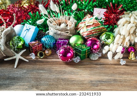 Christmas and New Year garland on rustic wood with copy space