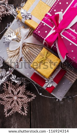 Christmas and New Year Gift Box - stock photo