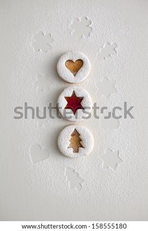 Christmas and new year gingerbread cookies with honey - stock photo