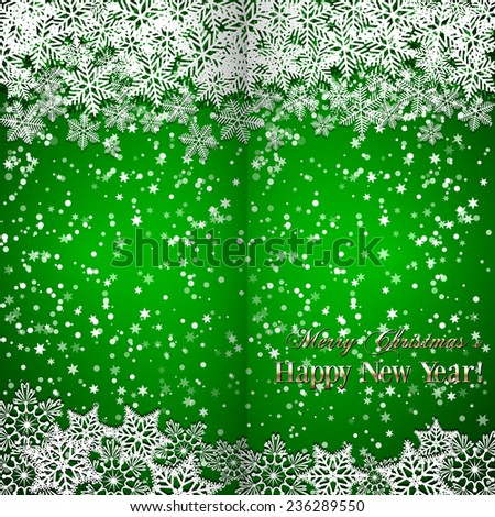 Christmas and New Year green folded  greeting or invitation  with snowflakes - stock photo