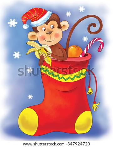Christmas and New Year greeting card. Christmas sock. A cute funny monkey wearing a Christmas cap is sitting in a sock full of Christmas gifts, oranges and candies eating a banana. Cartoon character