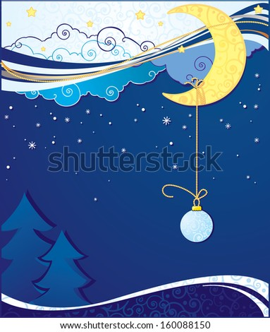 Christmas and New Year greeting card with moon, stars, clouds and snow.  - stock photo