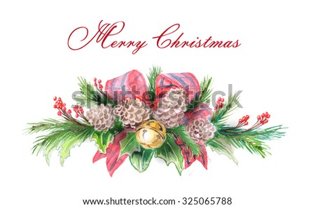 Christmas And New Year  Greeting Cards with Watercolor Christmas tree branch.  Template illustration. - stock photo