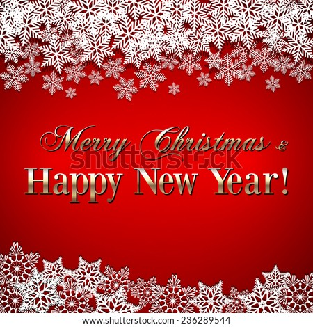 Christmas and New Year Greeting red Background with snowflakes - stock photo