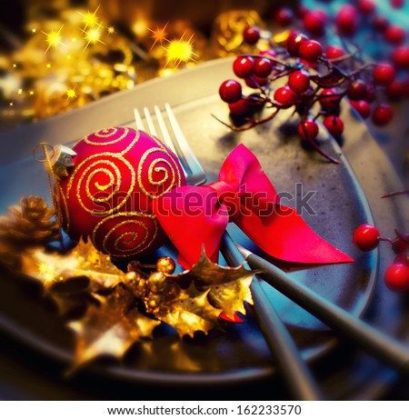 Christmas And New Year Holiday Table Setting. Celebration. Place setting for Christmas Dinner. Holiday Decorations. Decor.  - stock photo