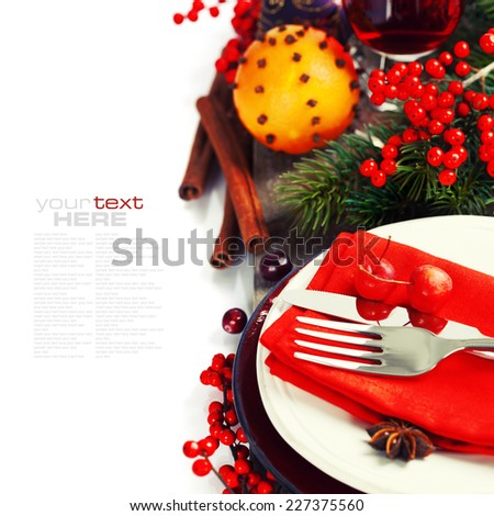 Christmas And New Year Holiday Table Setting with mulled wine and spices - stock photo