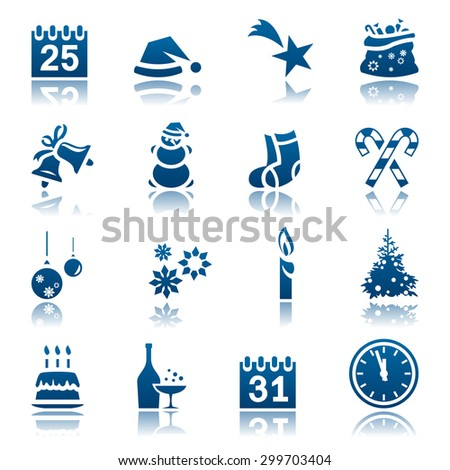 Christmas and New Year icon set - stock photo