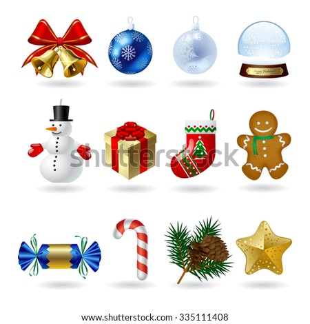 Christmas and New Year icons and decorations set