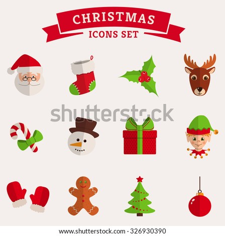 Christmas and New Year icons isolated on a white background. Set of colored flat symbols. Raster collection. - stock photo