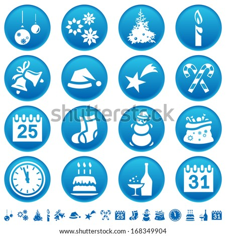 Christmas and New Year icons. Raster version of EPS image 37670284 - stock photo