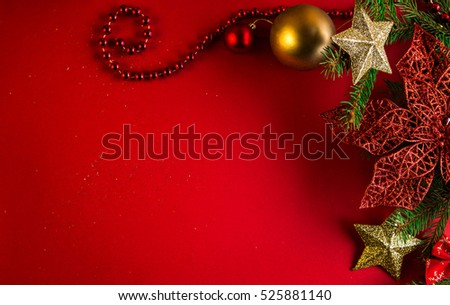 Christmas and New Year red and gold background