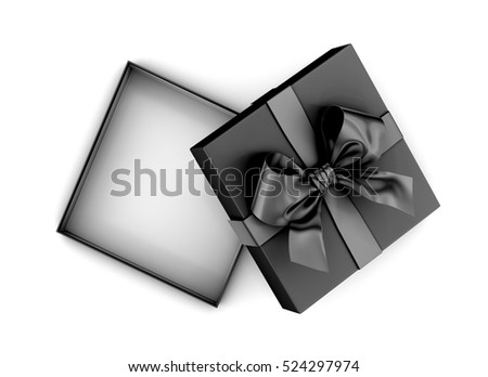 Christmas and New Year's Day , black gift box top view on white background 3d rendering