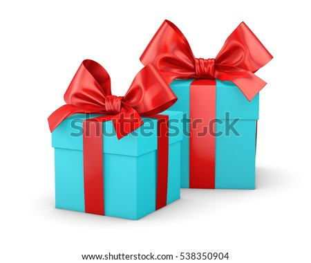 Christmas And New Years Day 2 Red Blue Sky Gift Boxes White Background 3d Rendering