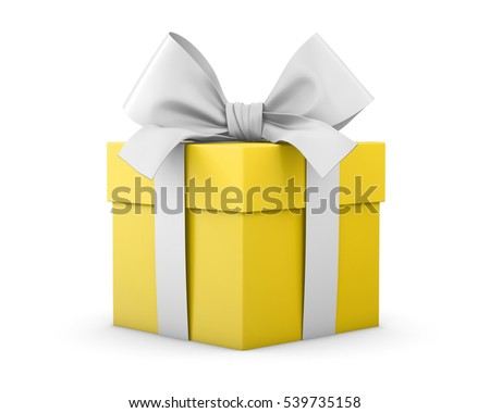 Christmas and New Year's Day , yellow gift box white background 3d rendering