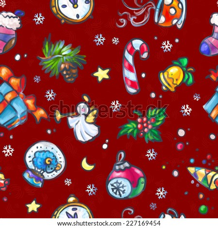 Christmas and New Year seamless pattern with Christmas decorations - stock photo