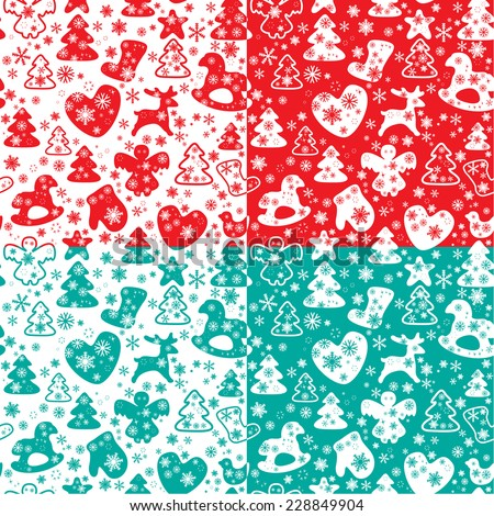Christmas and New Year seamless pattern with snowflakes and xmas symbols for winter and xmas theme in red, white and light blue colors. Raster version - stock photo