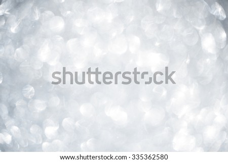 Christmas and New Year winter abstract silver and white glitter background with copy space - stock photo