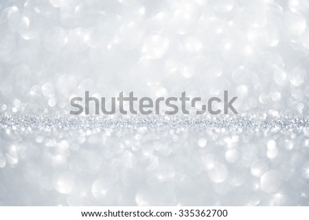 Christmas and New Year winter silver and white sparkle glitter background with copy space - stock photo
