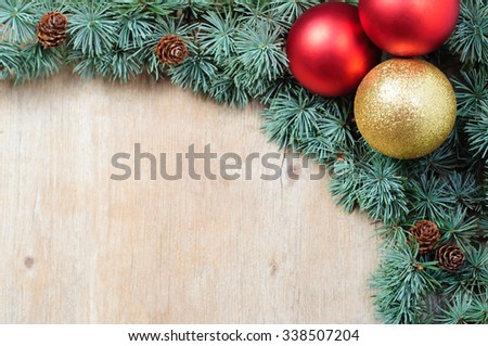 Christmas and New Years decoration with copy space