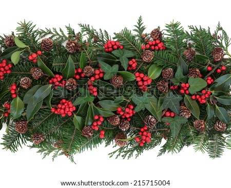 Christmas and winter flora with holly, ivy, mistletoe, spruce fir and pine cones over white background. - stock photo