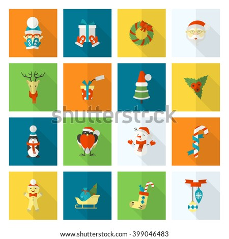 Christmas and Winter Icons Collection. Colorful. Long Shadow. Simple and Minimalistic Style.
