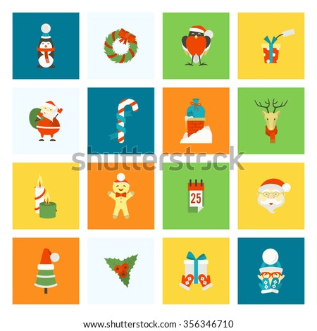 Christmas and Winter Icons Collection. Colorful. Simple and Minimalistic Style.