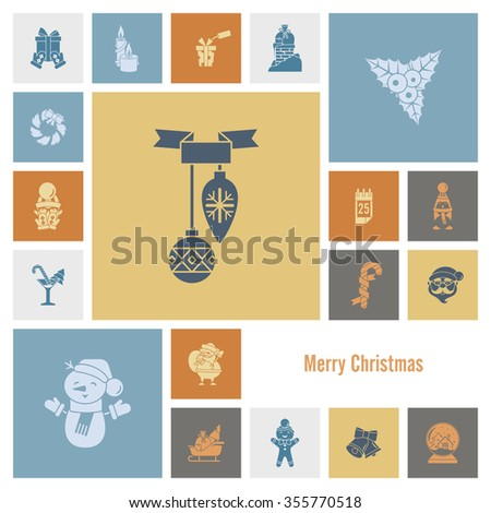 Christmas and Winter Icons Collection. Retro Color. Simple and Minimalistic Style.