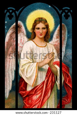 Christmas angel - a 1909 vintage illustration - stock photo