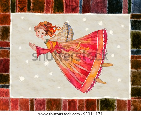 Christmas angel, greeting card illustration, watercolor - stock photo