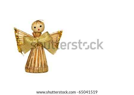 Christmas angel made from straw isolated on white background - stock photo