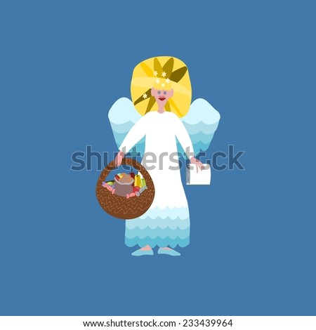 Christmas angel with book of good deeds and basket with sweets on blue background - stock photo