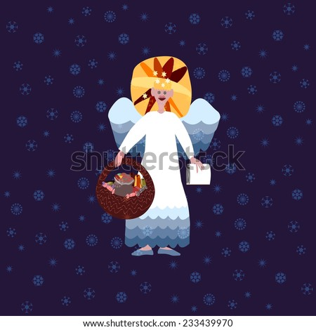 Christmas angel with book of good deeds and basket with sweets on blue background with snowflakes - stock photo