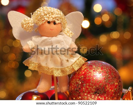 Christmas angel with glass balls decoration