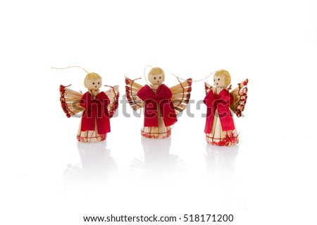 Christmas angels over white background