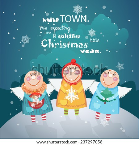 Christmas Angels with Christmas decorations on Christmas greeting card in cartoon style - stock photo