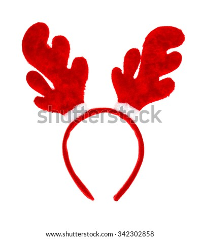 Christmas antlers of deer isolated on white background - stock photo