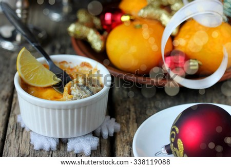 Christmas appetizer julienne, selective focus - stock photo