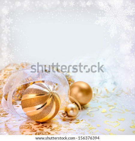 Christmas arrangement on abstract winter background, copy space