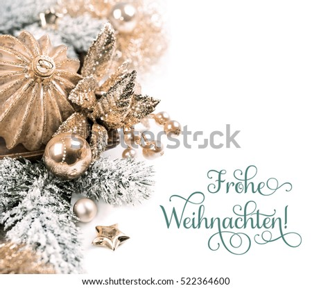 "Christmas arrangement on whirte background. Text ""Frohe Weihnachten""  can be replaced with your greeting."