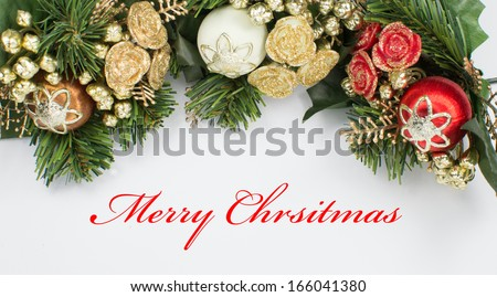 """Christmas Arrangement with """"Merry Christmas"""" Text - stock photo"""