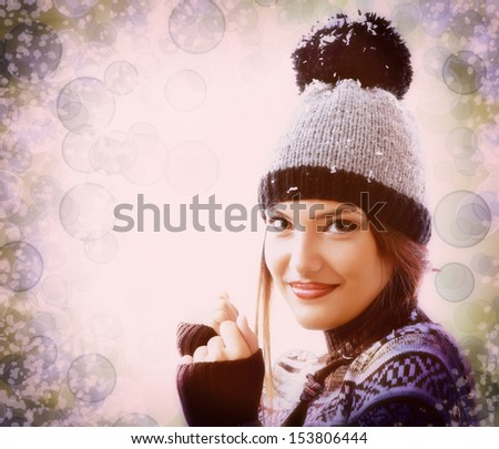 Christmas attractive teen girl in hat, vintage portrait over magic background - stock photo