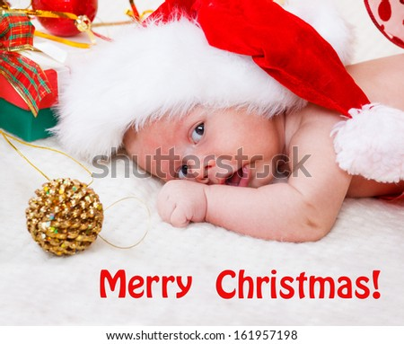 Christmas baby and decoration - stock photo