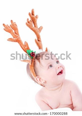 Christmas baby girl - stock photo