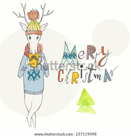 Christmas Background And Greeting Card With Deer On Hipster Style